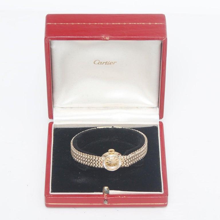 Vintage Cartier 18 Karat Yellow Gold Ladies Watch For Sale 1