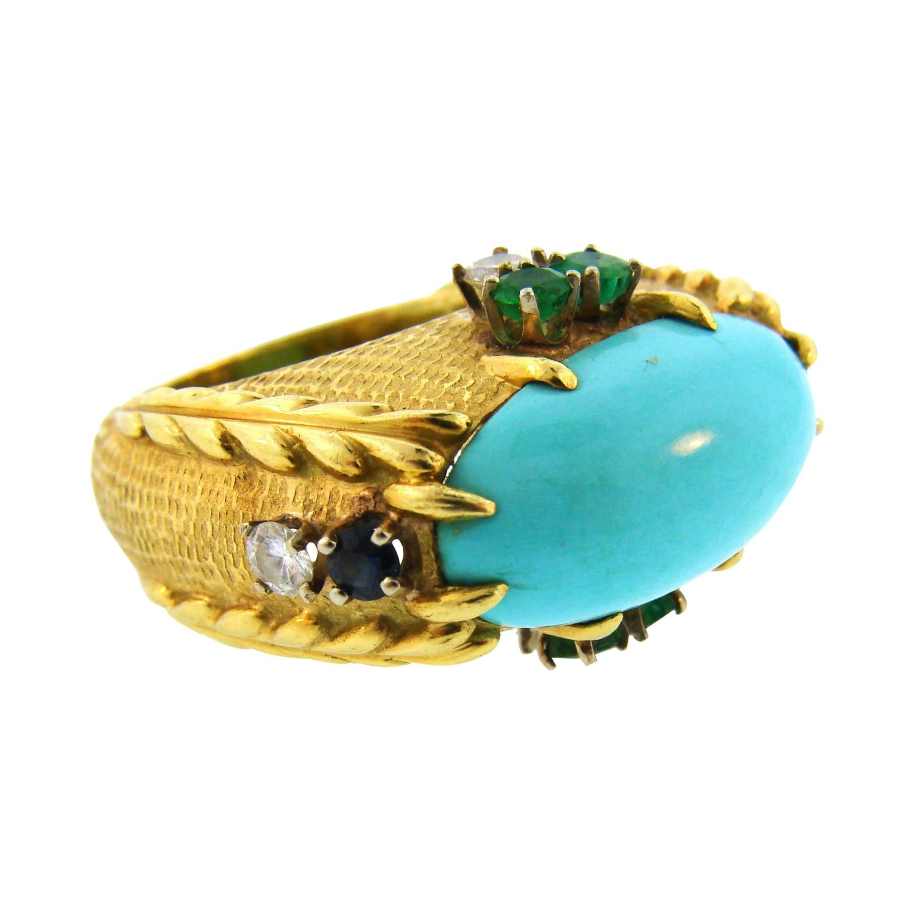 Vintage Cartier 18k Yellow Gold Ring Turquoise Diamond Sapphire Emerald