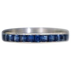 Vintage Cartier 1960s French Cut Blue Sapphire Platinum Eternity Band