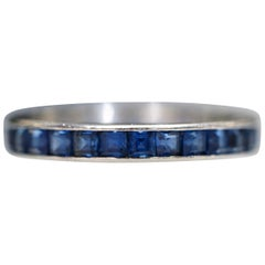 Vintage Cartier 1960s French Cut Blue Sapphire Platinum Eternity Band