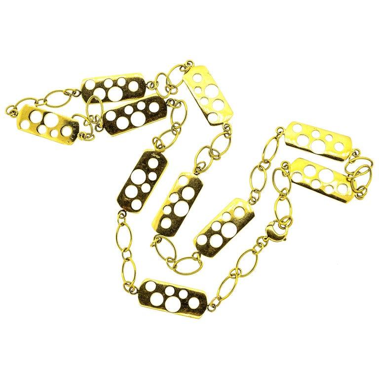Vintage Cartier 1970s 18 Karat Gold Fancy Link Necklace For Sale