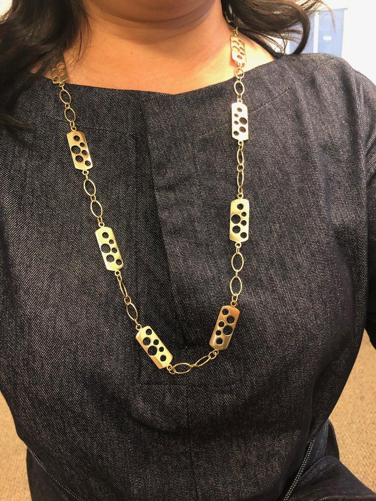Vintage Cartier 1970s 18 Karat Gold Fancy Link Necklace For Sale 4