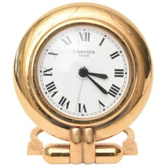 Vintage Cartier 24 Karat Gold Plated Travel Quartz Desk Clock/ Desk Accessory