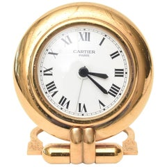 Vintage Cartier 24-Karat Gold Plated Travel Quartz Desk Clock or Desk Accessory