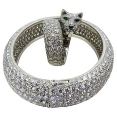 Vintage Cartier 30 Carat Diamond Bangle & 10 Carat Diamond Panthere Ring Set