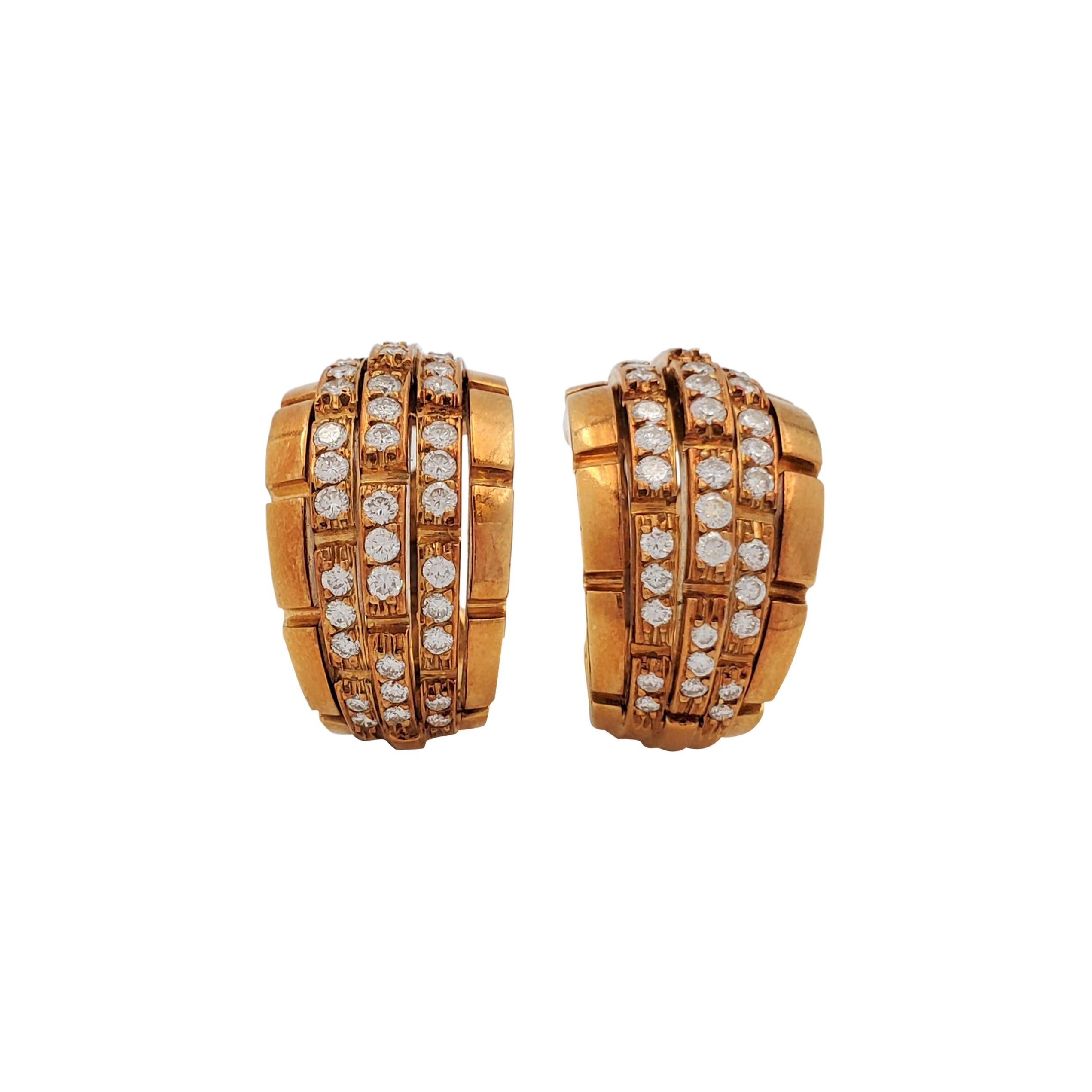Vintage Cartier 5-Row 'Maillon Panthere' Yellow Gold and Diamond Earrings