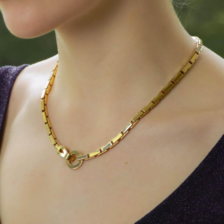 Retro Vintage Cartier Agrafe Chunky Chain Necklace Set in 18k Yellow Gold For Sale