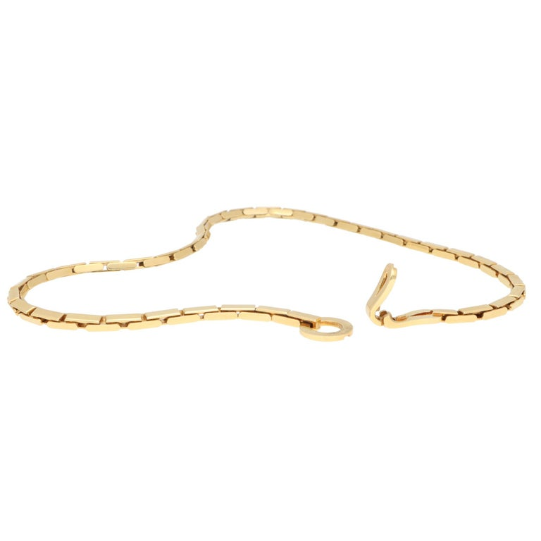 Women's or Men's Vintage Cartier Agrafe Chunky Chain Necklace Set in 18k Yellow Gold For Sale
