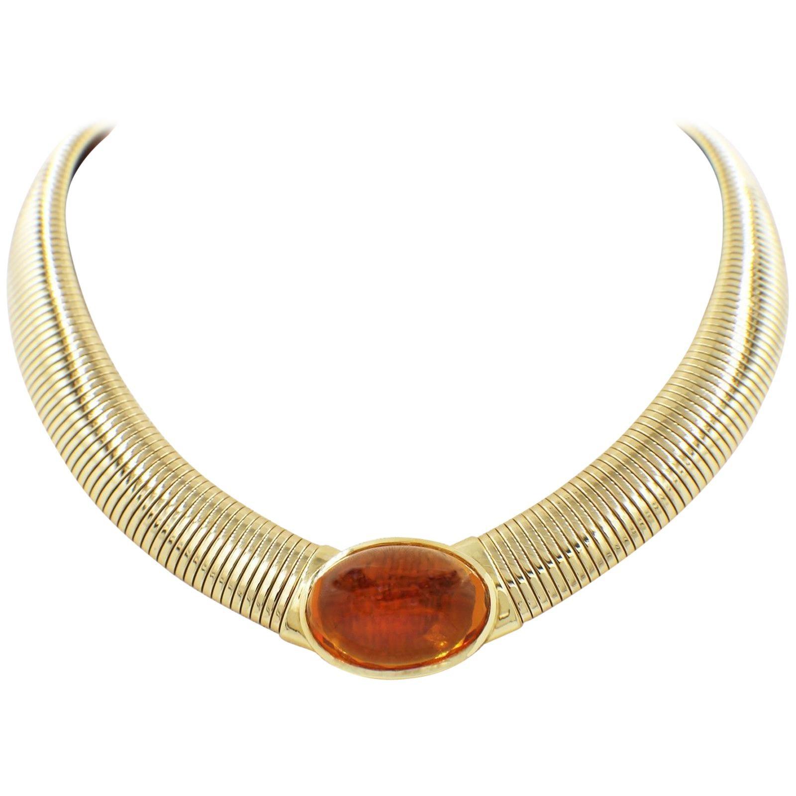 Vintage Cartier Amber Cabochon Collar Necklace 18 Karat Yellow Gold