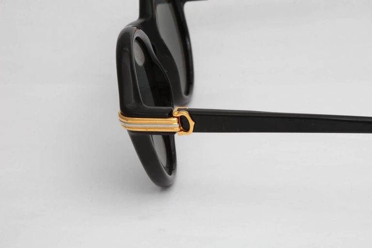 Women's or Men's Vintage Cartier Black Cabriolet Sunglasses For Sale