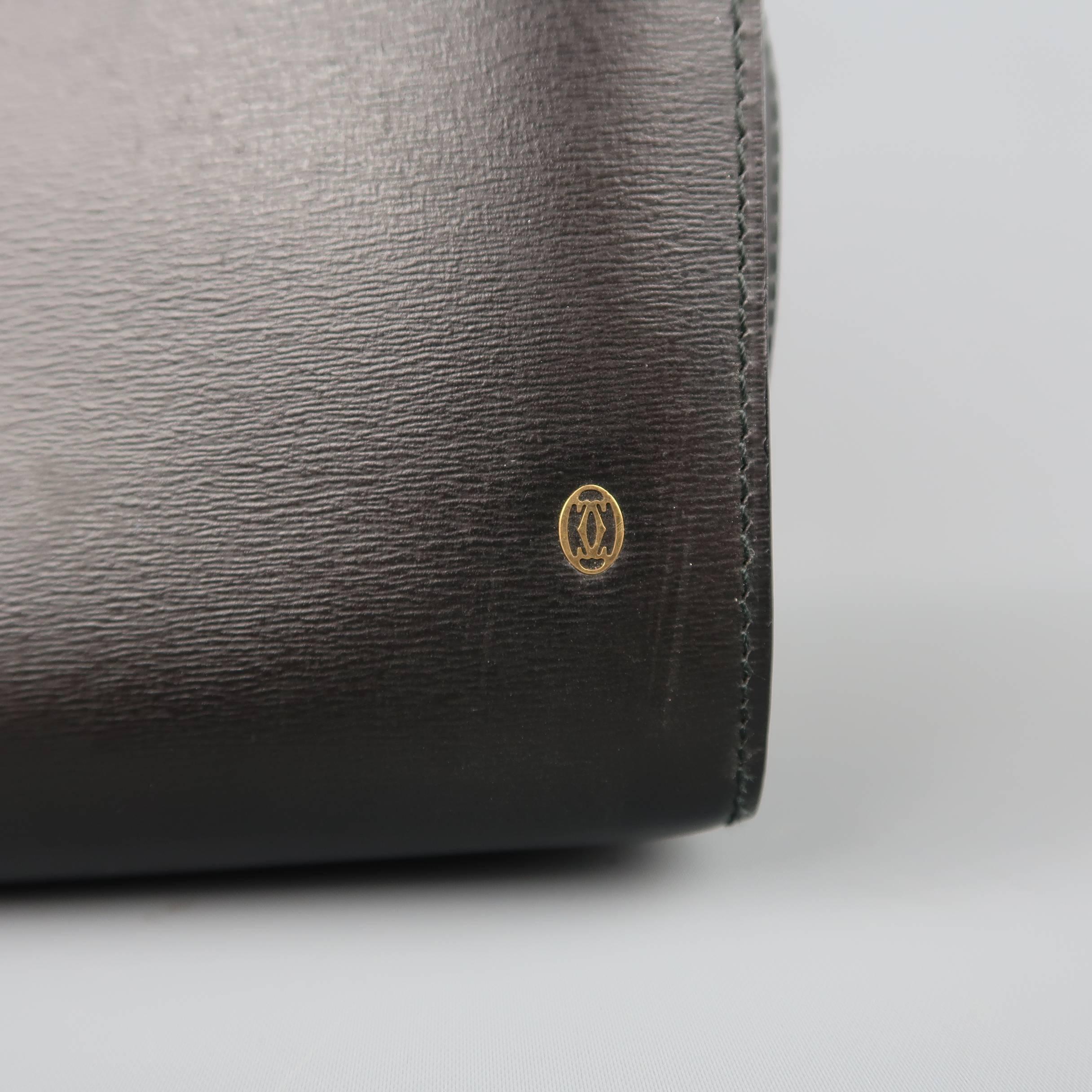 Cartier Vintage Cartier Black Leather Wristlet Travel Toiletry Clutch Bag urb9t9NfM