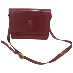 Vintage Cartier Burgundy Flap Handbag