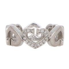 Vintage Cartier 'C de Cartier' Diamond Heart Ring Set in 18k White Gold