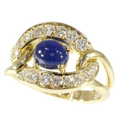 Vintage Cartier Cabochon Sapphire and Diamonds 18 Karat Yellow Gold Ring, 1990s