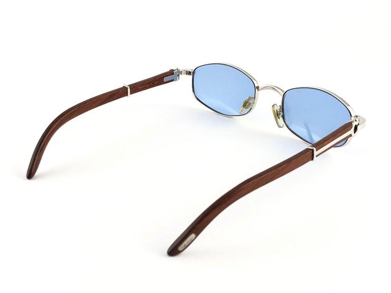 Vintage Cartier Cartayat Wood 53mm Platine Precious Wood Brown Lens Sunglasses  For Sale 5