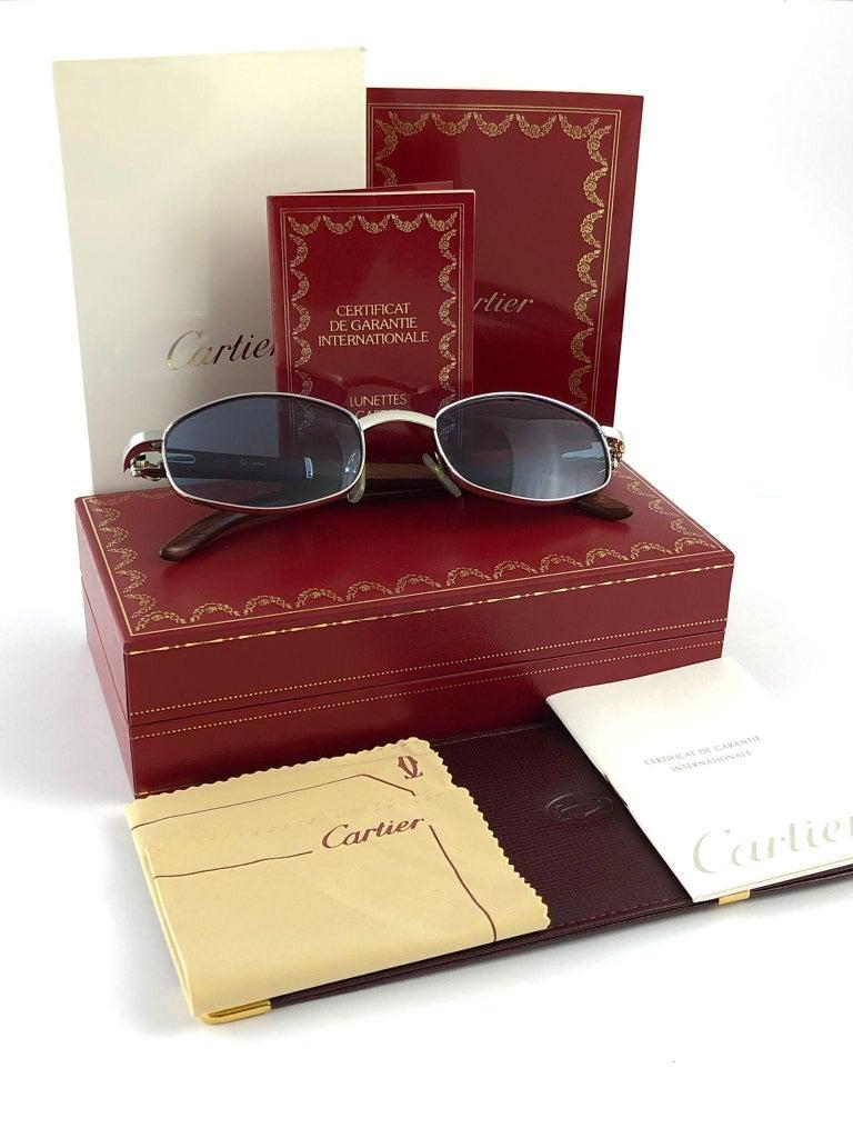 Vintage Cartier Cartayat Wood 53mm Platine Precious Wood Brown Lens Sunglasses  For Sale 8