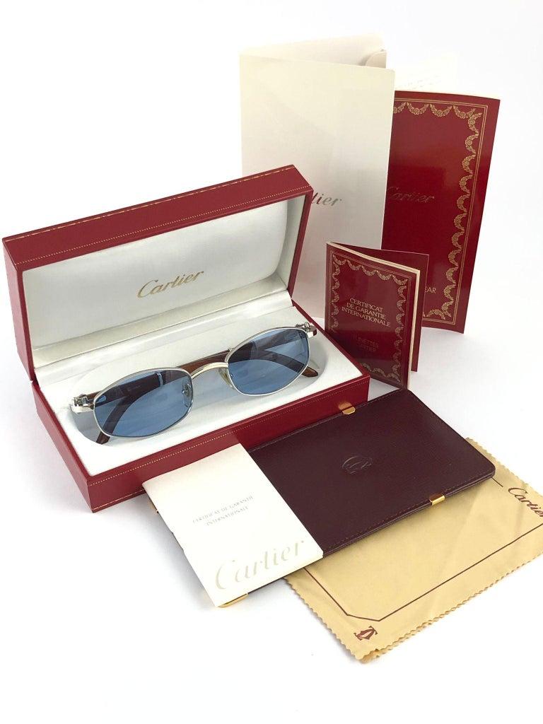 Gray Vintage Cartier Cartayat Wood 53mm Platine Precious Wood Brown Lens Sunglasses  For Sale