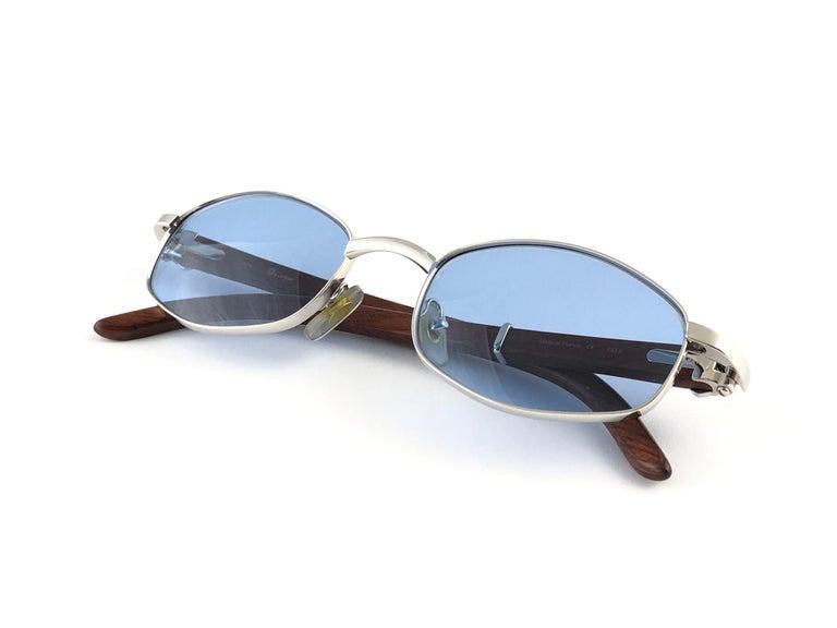 Women's or Men's Vintage Cartier Cartayat Wood 53mm Platine Precious Wood Brown Lens Sunglasses  For Sale