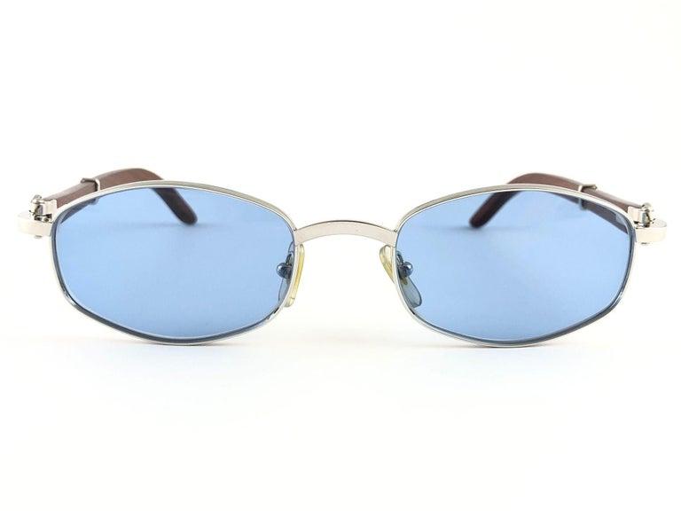 Vintage Cartier Cartayat Wood 53mm Platine Precious Wood Brown Lens Sunglasses  For Sale 1