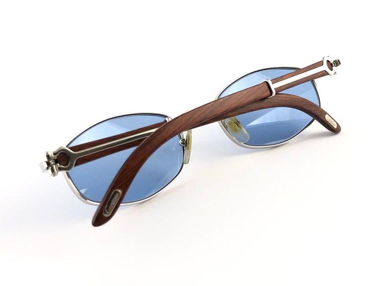 Vintage Cartier Cartayat Wood 53mm Platine Precious Wood Brown Lens Sunglasses  For Sale 2
