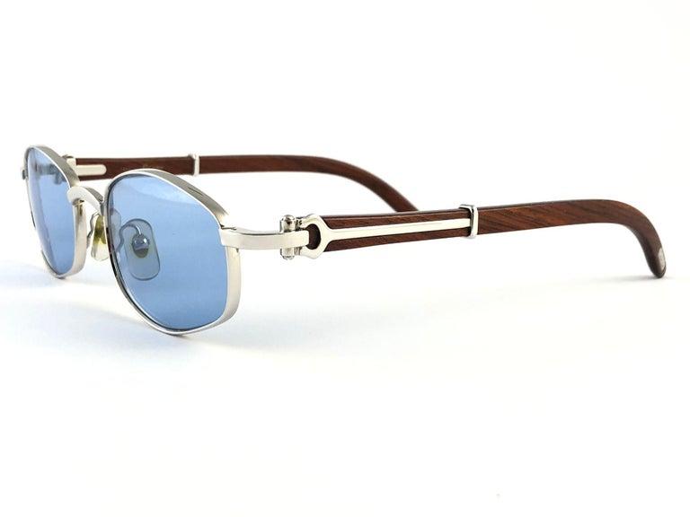 Vintage Cartier Cartayat Wood 53mm Platine Precious Wood Brown Lens Sunglasses  For Sale 4