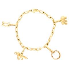 Vintage Cartier Charm Bracelet Set in 18k Yellow Gold