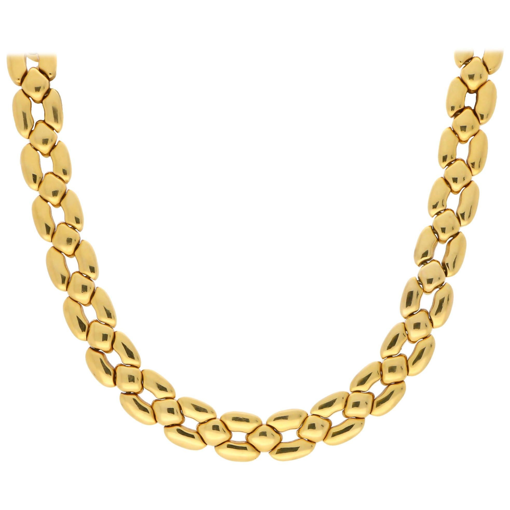 Vintage Cartier Chunky Honeycomb Link Necklace Set in 18 Karat Yellow Gold
