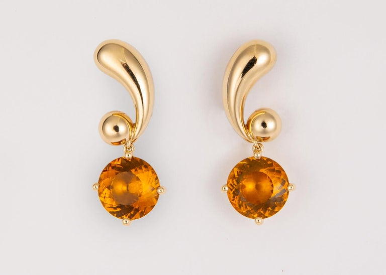 Retro Vintage Cartier Citrine and Gold Drop Earrings For Sale