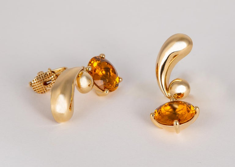 Vintage Cartier Citrine and Gold Drop Earrings In Excellent Condition For Sale In Atlanta, GA