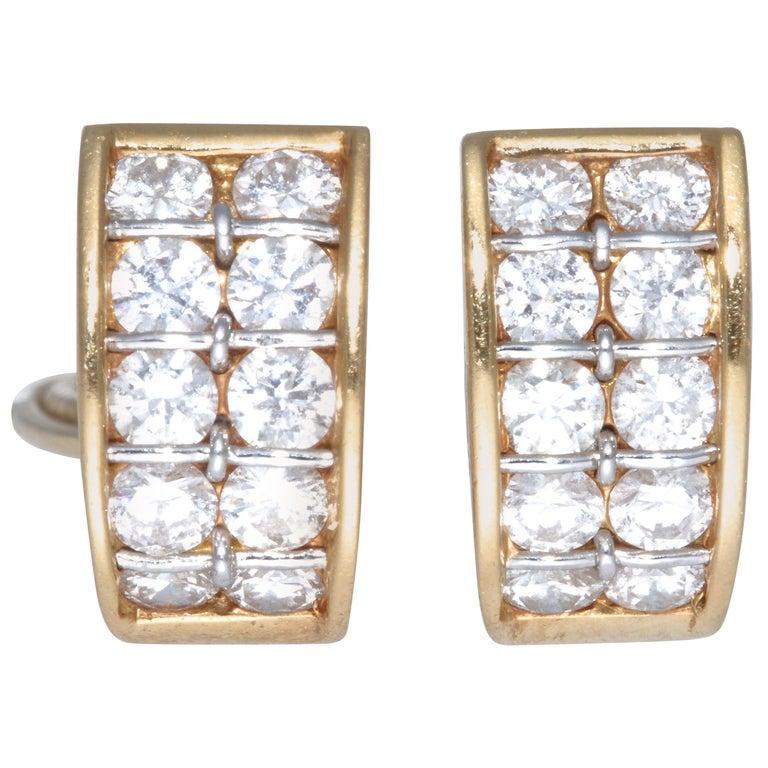 Vintage Cartier Diamond 18 Karat Gold Earrings For Sale