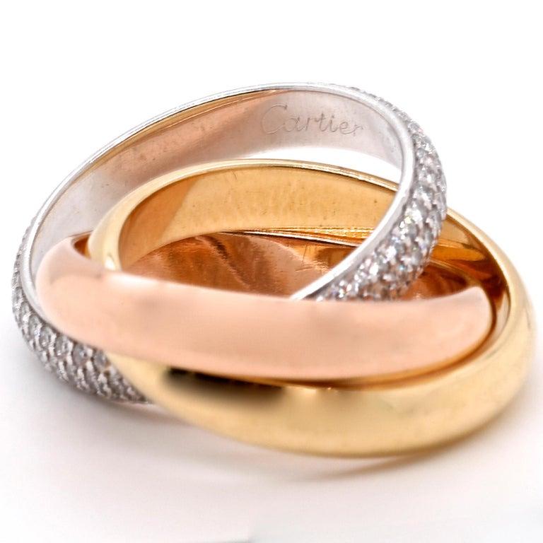 Round Cut Vintage Cartier Diamond 18 Karat Gold Trinity Ring