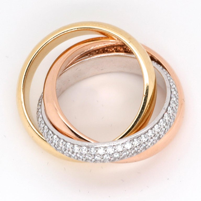 Vintage Cartier Diamond 18 Karat Gold Trinity Ring In Excellent Condition In Beverly Hills, CA
