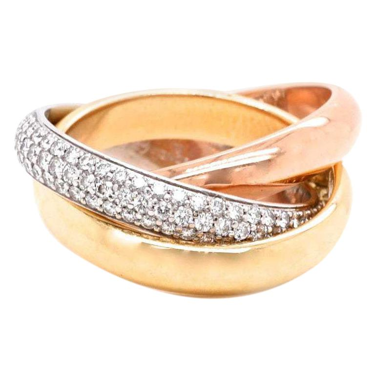 Vintage Cartier Diamond 18 Karat Gold Trinity Ring