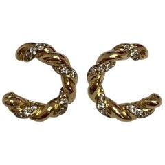 Vintage Cartier Diamond 18 Karat Gold Twist Hoop Earrings in Cartier Box