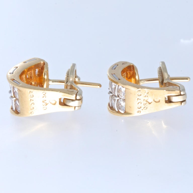 Vintage Cartier Diamond 18 Karat Gold Earrings In Good Condition For Sale In Beverly Hills, CA
