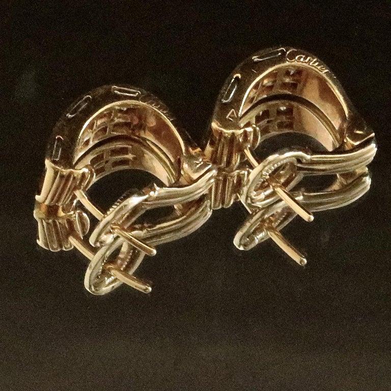 Women's Vintage Cartier Diamond 18 Karat Gold Earrings For Sale
