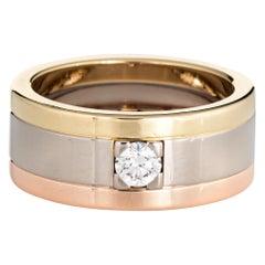 Vintage Cartier Diamond Band 18 Karat Tri Gold Wedding Ring Fine Jewelry