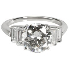 Vintage Cartier Diamond Engagement Ring in Platinum H VS2 3.23 Carat