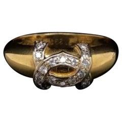 Vintage Cartier Diamond Logo Ring 18 Karat Yellow Gold