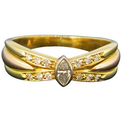 Vintage Cartier Diamond Navette Yellow Gold Ring