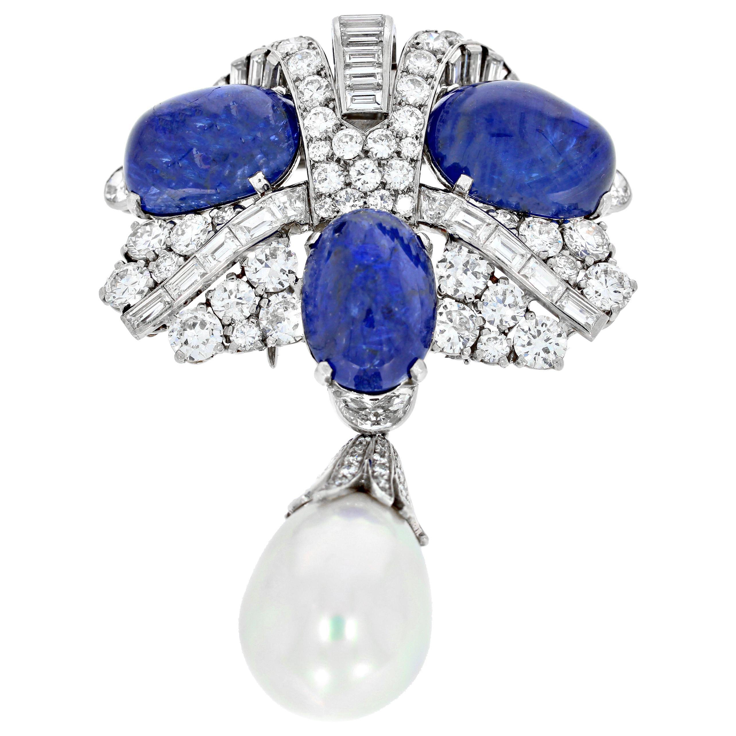 Vintage Cartier Diamond Pearl and Burma Sapphire Brooch