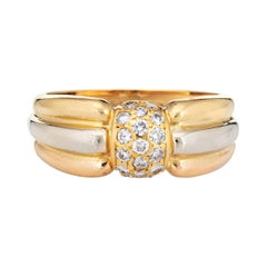 Vintage Cartier Diamond Ring 18k Tri Gold Signed Fine Jewelry