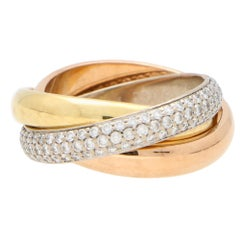 Vintage Cartier Diamond Trinity Ring Set in 18k Tri-Gold, with Box