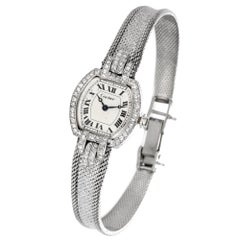Vintage Cartier Diamond White Gold Ladies Wrist Watch