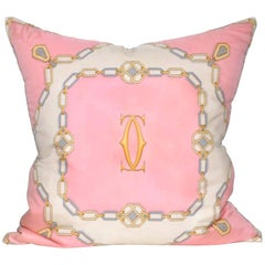 Vintage Cartier Diamonds Pink Silk Scarf with Irish Linen Cushion Pillow