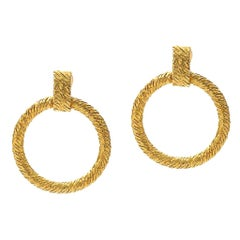 Vintage Cartier Door Knocker Style Clip-On Earrings in 18 Karat Yellow Gold