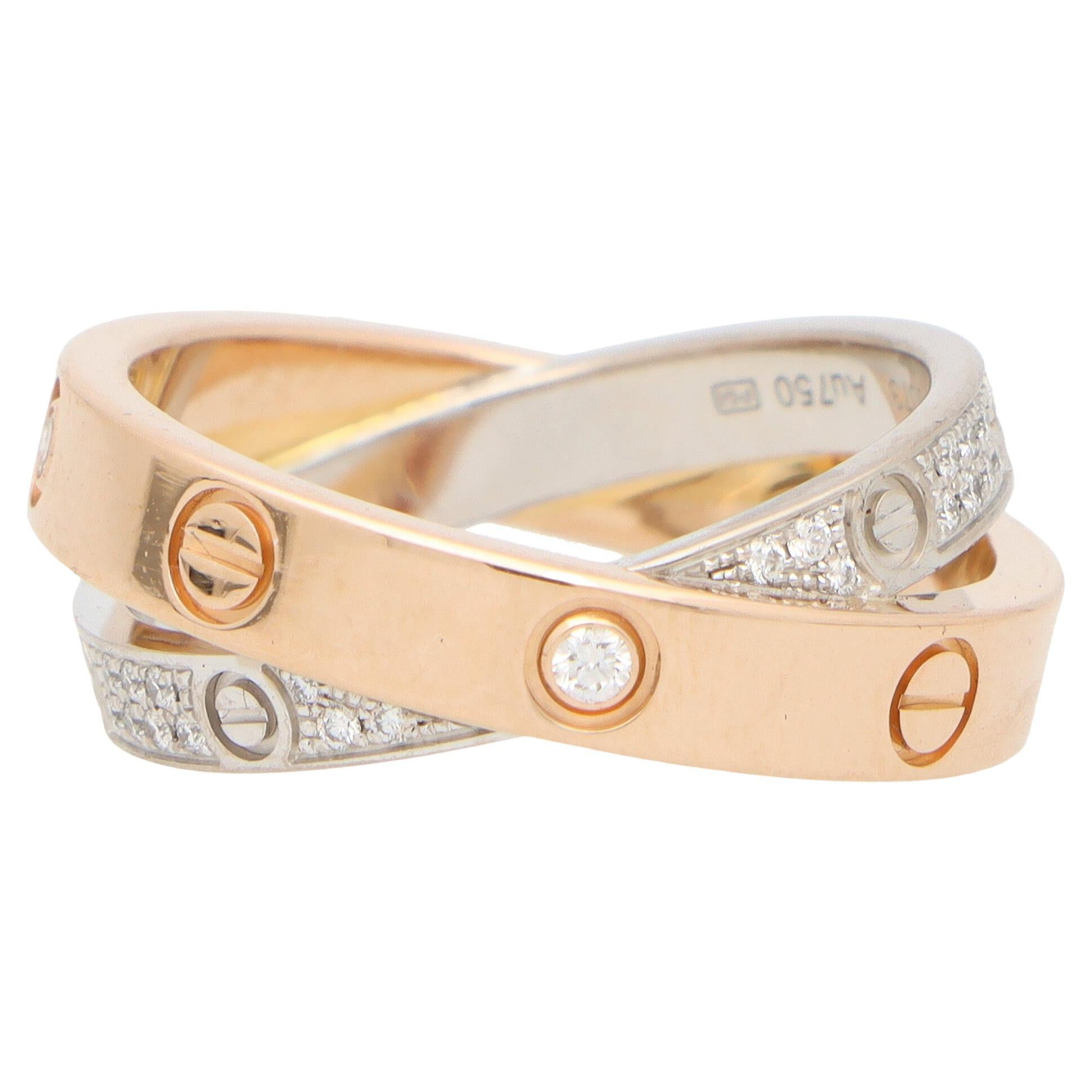 Vintage Cartier Double Band Diamond Love Ring in 18k Rose and White Gold