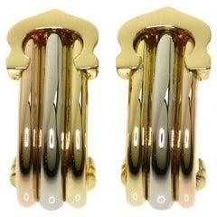 Vintage Cartier Double C 18 Karat Gold Multi Tone Hoop Earrings in Cartier Box