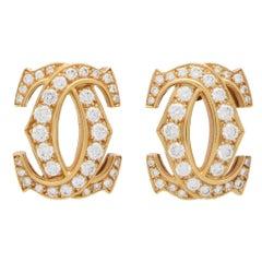 Vintage Cartier Double C Motif Diamond Earrings Set in 18k Yellow Gold