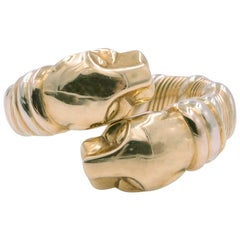 Vintage Cartier Double Head Panther Ring 18K Yellow Gold, White Gold Rose Gold